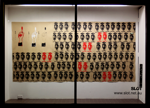 Democracy, George Burchett 2014, screen print on zo paper (giay do), 156 x 321 cm