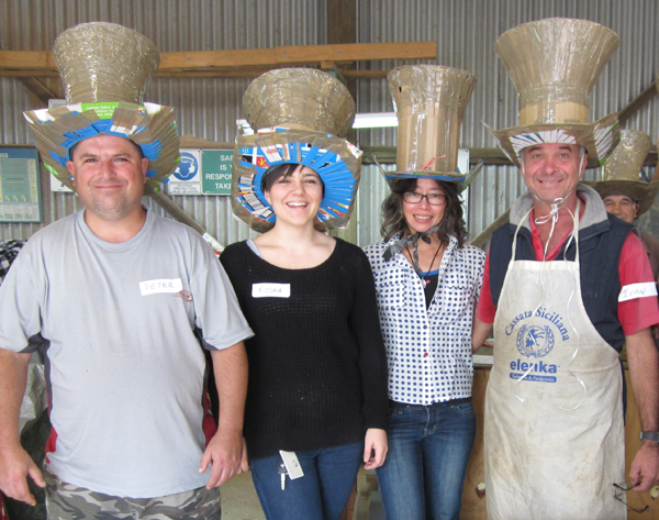 Left to right: Peter Trajkovski, Kiosha Gardner, Mai Nguyen-Long, Ivan Frangoff; Coniston Men's Shed 4 June 2015.