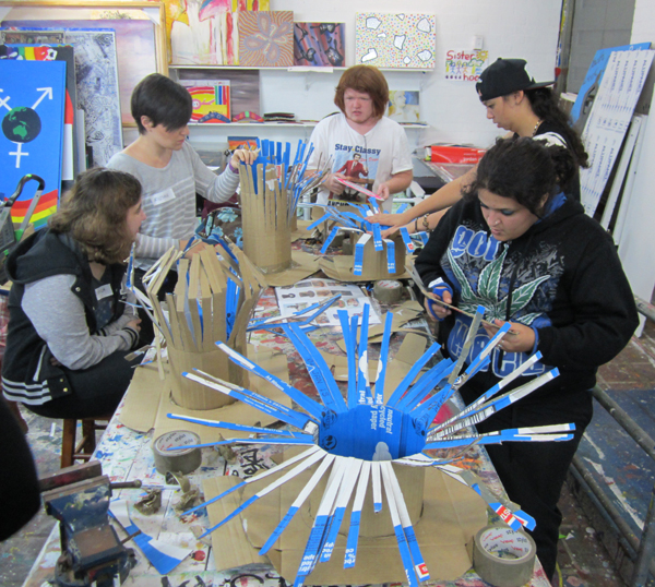 Working in the Wollongong Youth Service art room with participants from Essential Employment and Training 15 June 2015
