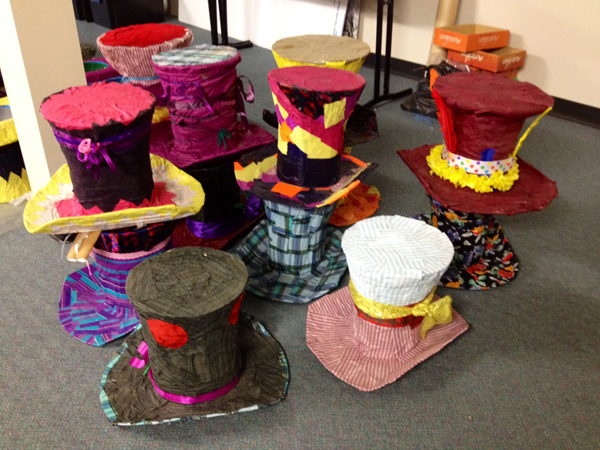 A few of the workshop participant's hats, awaiting Viva La Gong...