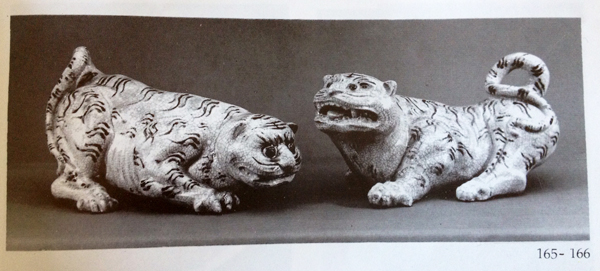 Sample of a piece from Bat Trang village 13 k ourside of central Hanoi: a pair of tiger statues with crackled glaze and iron brown design L:30 Date circa Canh Hung reign (1740-86); Source: Bat Trang Ceramics 14th-19th Centuries The Gioi Publishers Hanoi 1995 ; Authors: Phan Huy Le, Nguyen Dinh Chien, Nguyen Quang Ngoc, Kerry Nguyen-Long
